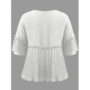Plus Size Pleated Ruffle Blouse -