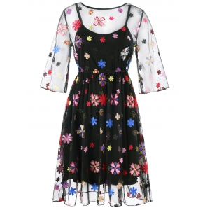 Broderie Floral Party Dress avec Cami Dress -