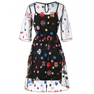 Embroidery Floral Party Dress with Cami Dress -