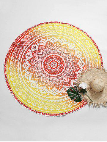 Hot Ombre Mandala Print Beach Throw