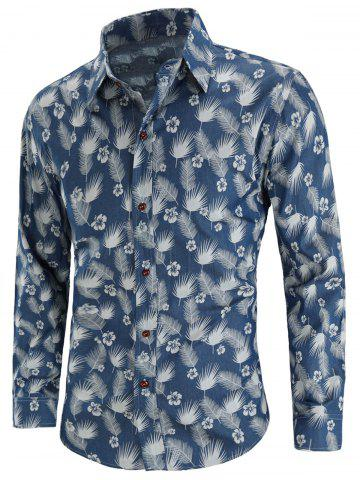 Online Feather Floral Print Button Up Shirt