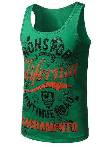 Chic Graphic Print Cotton Blends Tank Top
