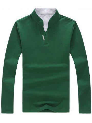 Chic Graphic Long Sleeve Polo T-shirt