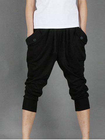 Trendy Pockets Design Rib Cropped Pants