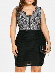 Plus Size Lace Bodice Sleeveless Bodycon Dress -