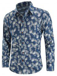 Feather Floral Print Button Up Shirt -