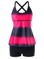 Plus Size Color Block Multi Strap Back Tankini -