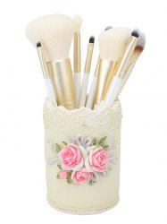 9Pcs Makeup Brushes Set with Flower Flax Brush Holder -
