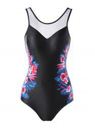 Flower Print Backless One-piece Swimsuit -