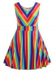 Plus Size Rainbow Sleeveless Dress -