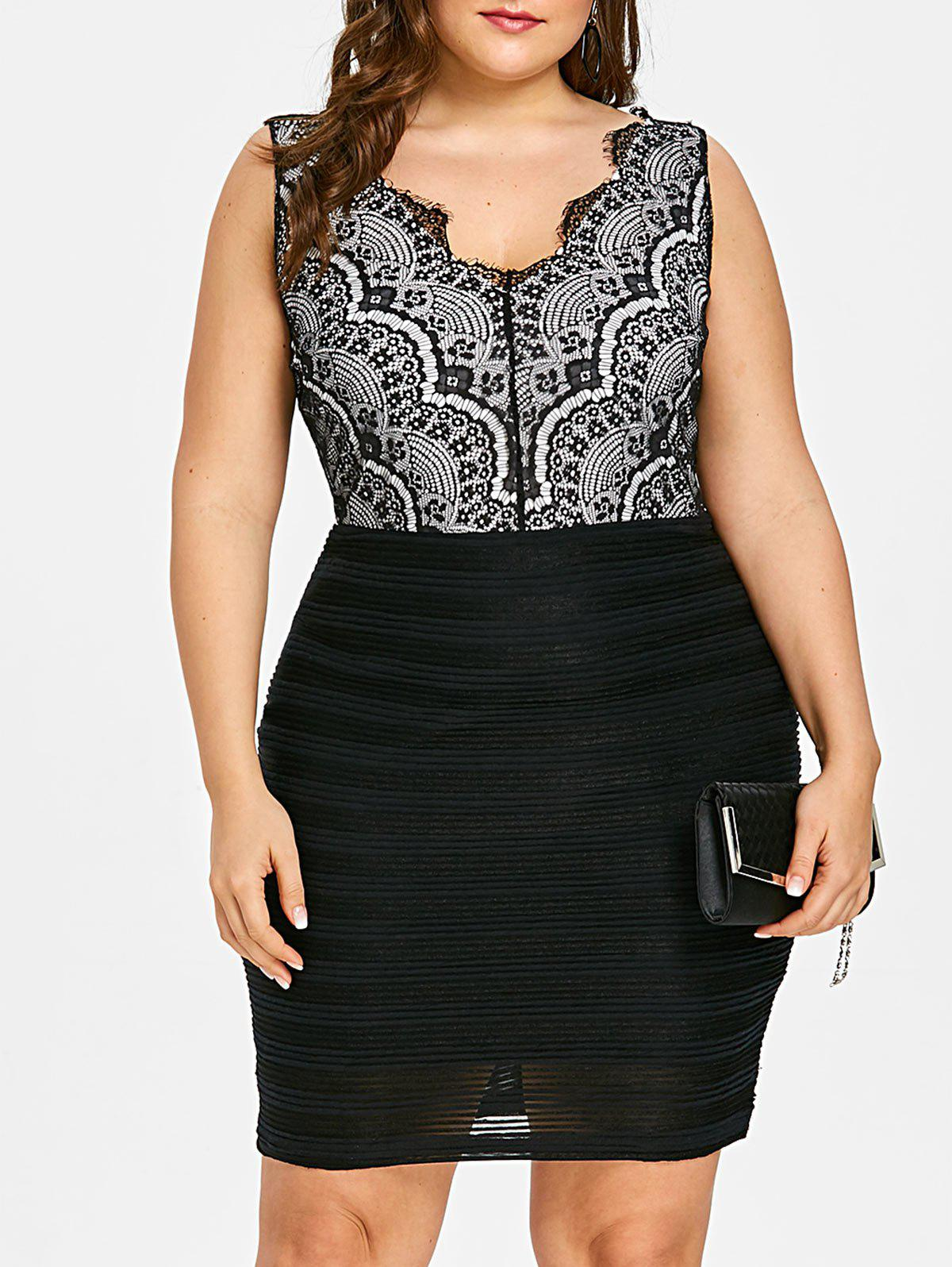 Outfits Plus Size Lace Bodice Sleeveless Bodycon Dress