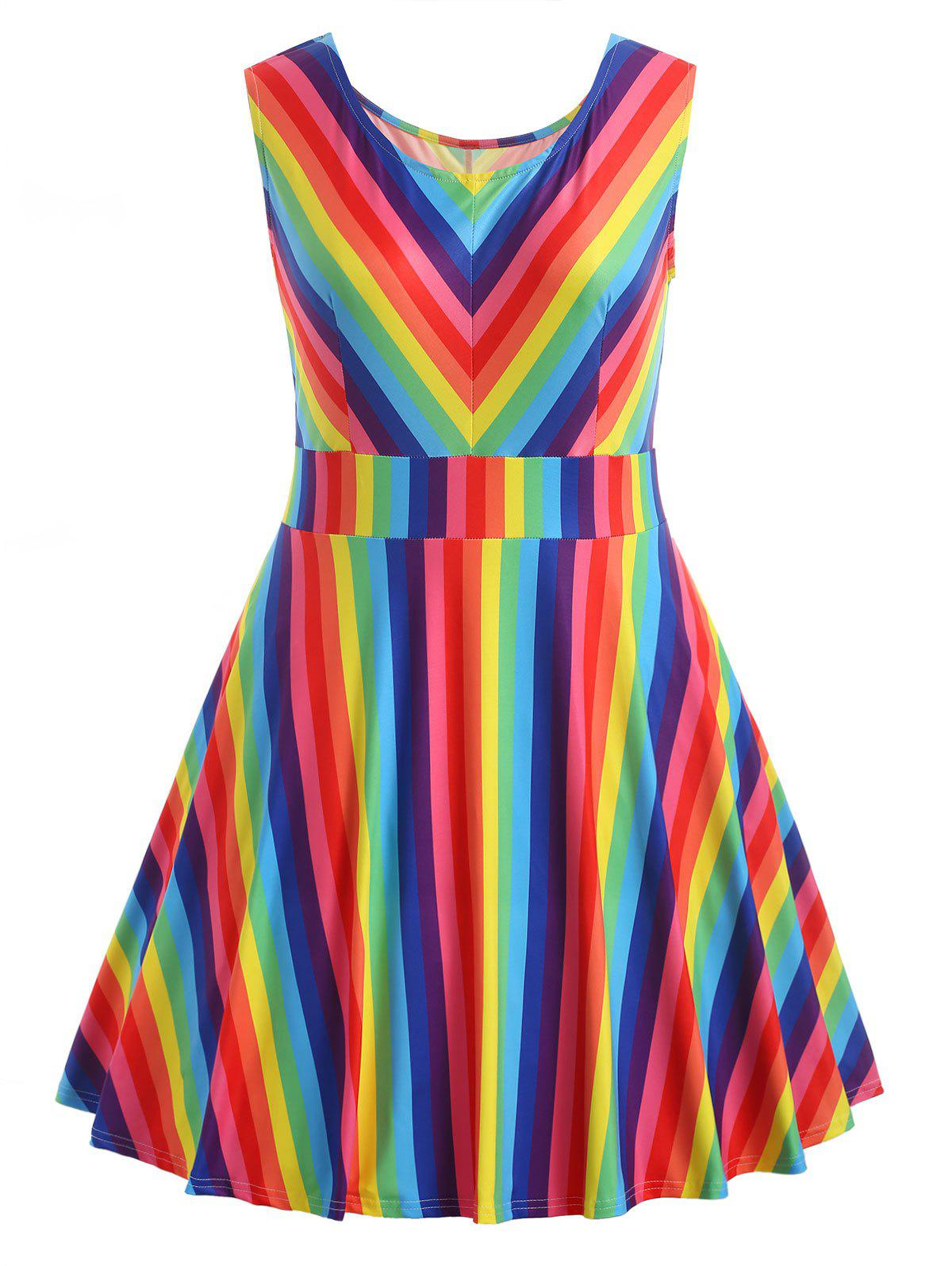 Outfits Plus Size Rainbow Sleeveless Dress
