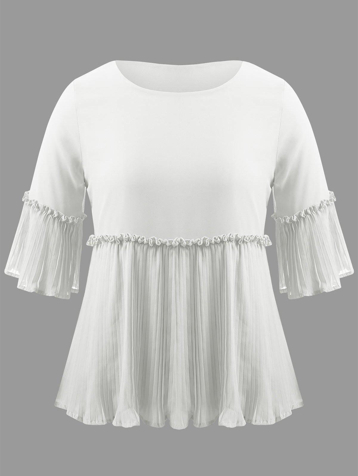 Shop Plus Size Pleated Ruffle Blouse