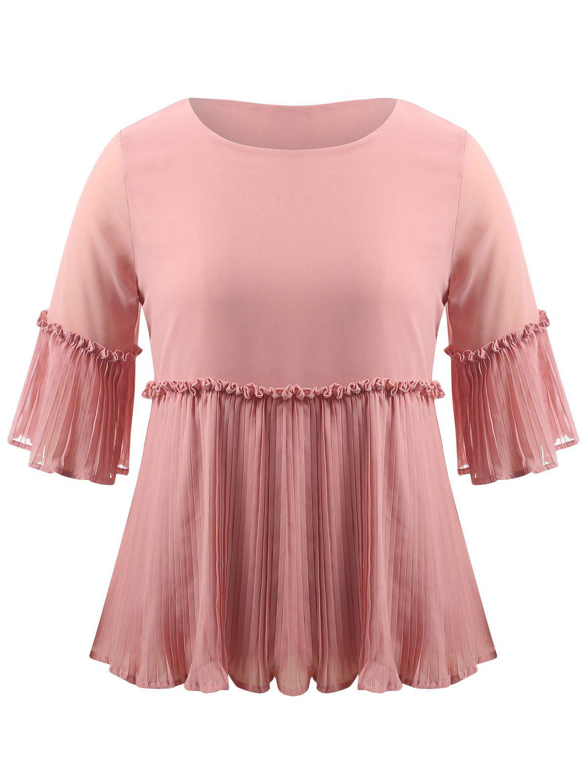 Latest Plus Size Pleated Ruffle Blouse