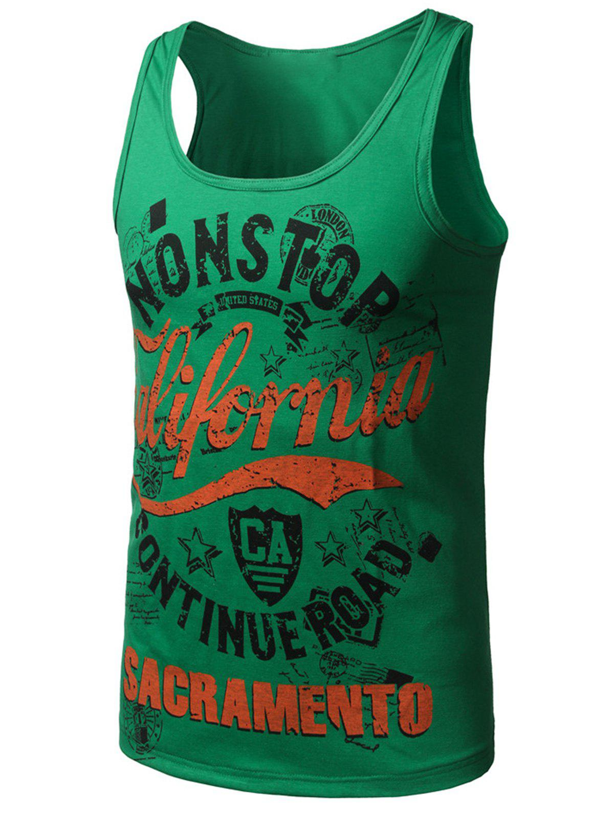 Sale Graphic Print Cotton Blends Tank Top