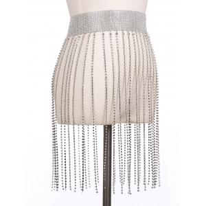 Металлический Rhinestone Fringed Belly Chain -