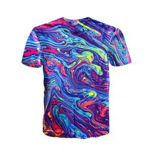 Short Sleeve Crew Neck Abstract Painting Colorful Tee -