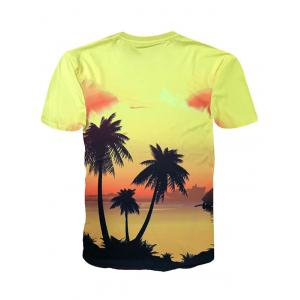 Hawaiian Sunset Coconut Palm Print Short Sleeve T-shirt -