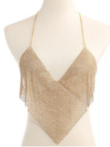 Outfits Rhinestoned Triangle Halter Bra Chain