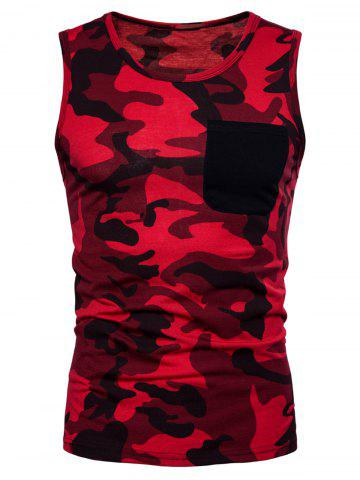 Unique Pocket Camo Print Tank Top