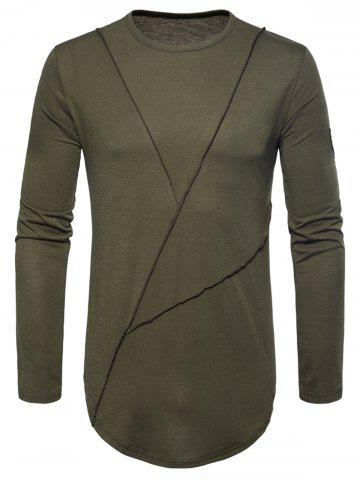 Latest Embroidered Arrow Curved Hem Crew Necklace T-shirt