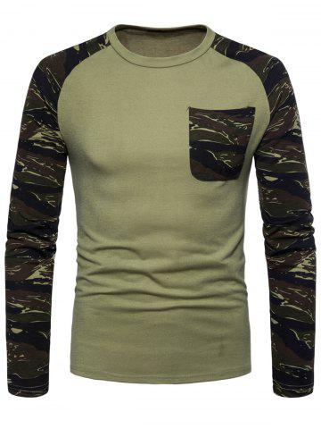 Outfits Pocket Camouflage Long Sleeve T-shirt