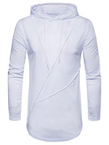 Chic Long Sleeve Solid Color Zip Hem Hooded T-shirt