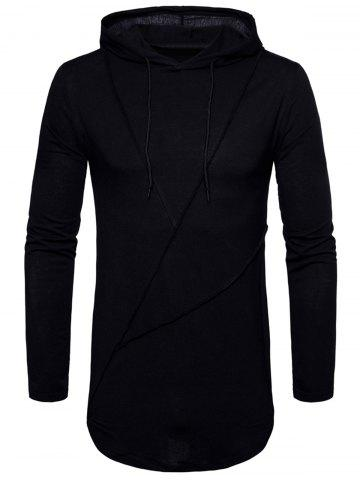Cheap Long Sleeve Solid Color Zip Hem Hooded T-shirt