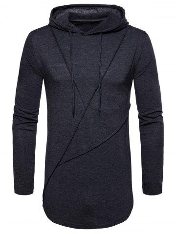 Zip Hem Long Sleeve Solid Color Hooded T shirt