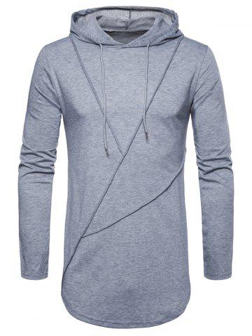 Latest Long Sleeve Solid Color Zip Hem Hooded T-shirt