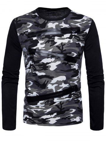 Cheap Long Sleeve Camo Pattern T-shirt