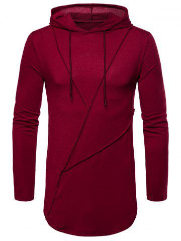 Hot Long Sleeve Solid Color Zip Hem Hooded T-shirt