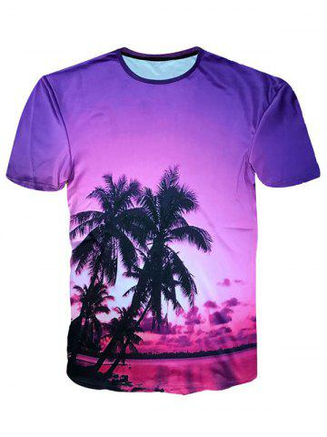 Unique Hawaiian Short Sleeve Coconut Palm Print T-shirt