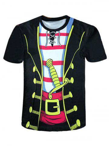 Fancy Crew Neck Cartoon Pirate Costume Novelty Tee