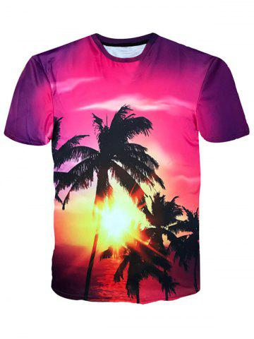 Fashion Crew Neck Coconut Trees Sunshine Print Hawaiian T-shirt