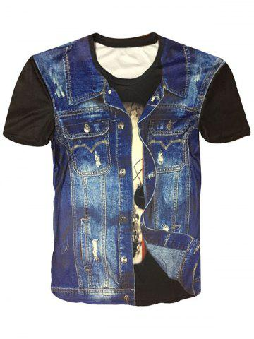 Hot Crew Neck Denim Vest 3D Print Funny Tee