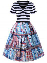 Plus Size V Neck Bookrack Pattern Striped Retro Dress -