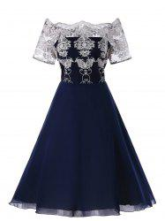 Plus Size Embroidered Off The Shoulder Dress -