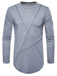 Embroidered Arrow Curved Hem Crew Necklace T-shirt -