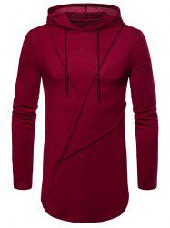 Long Sleeve Solid Color Zip Hem Hooded T-shirt -