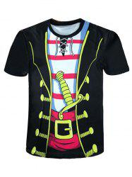 Crew Neck Cartoon Pirate Costume Novelty Tee -