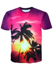Crew Neck Coconut Trees Sunshine Print Hawaiian T-shirt -