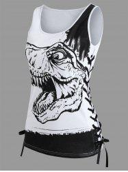 Dinosaur Printed Criss Cross Tank Top -