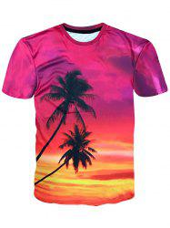 Crew Neck Coconut Palm Print Hawaiian T-shirt -