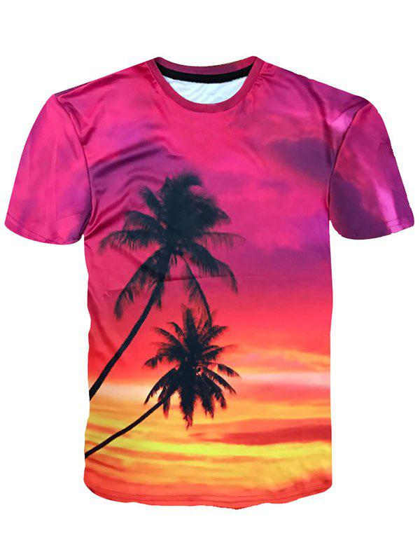 Chic Crew Neck Coconut Palm Print Hawaiian T-shirt