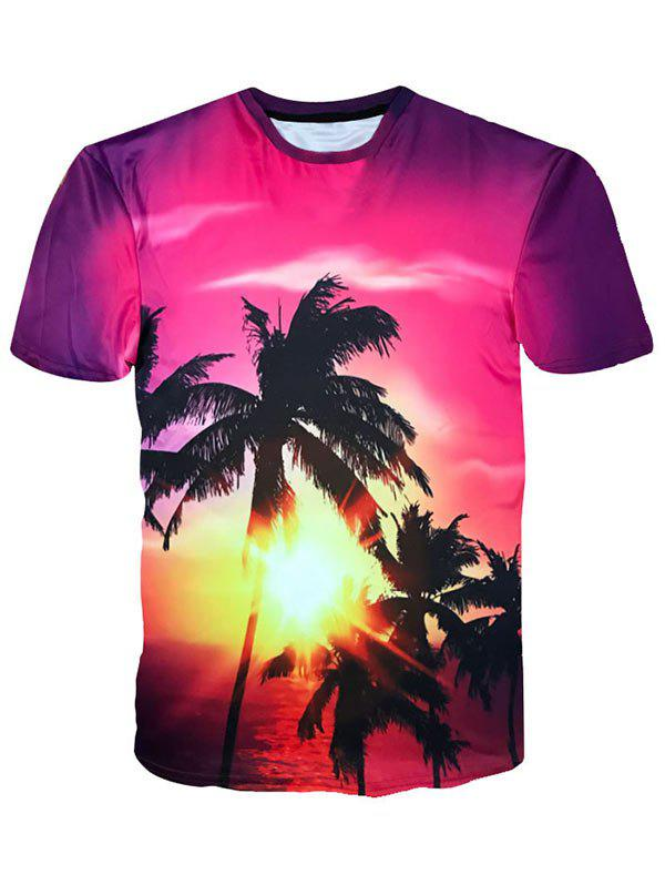 Trendy Crew Neck Coconut Trees Sunshine Print Hawaiian T-shirt