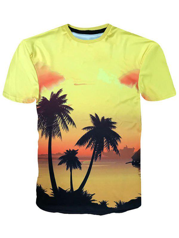 New Hawaiian Sunset Coconut Palm Print Short Sleeve T-shirt