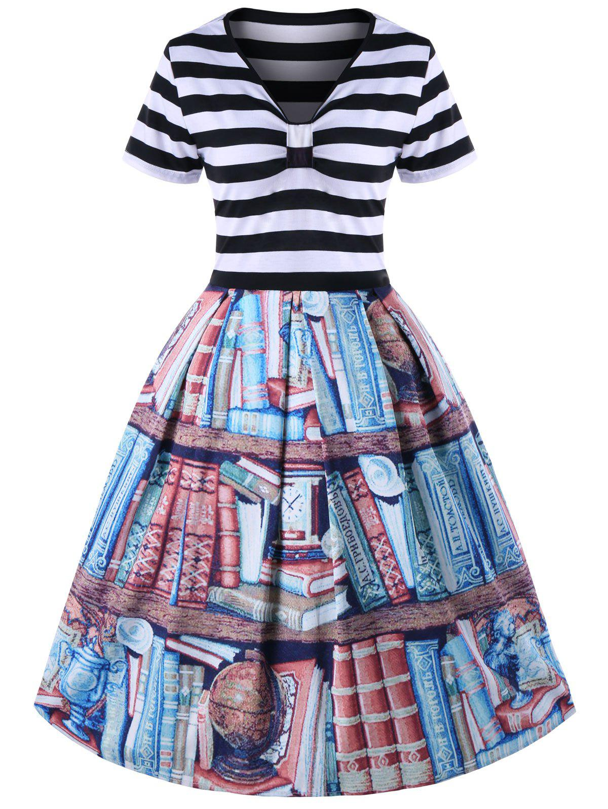 Discount Plus Size V Neck Bookrack Pattern Striped Retro Dress