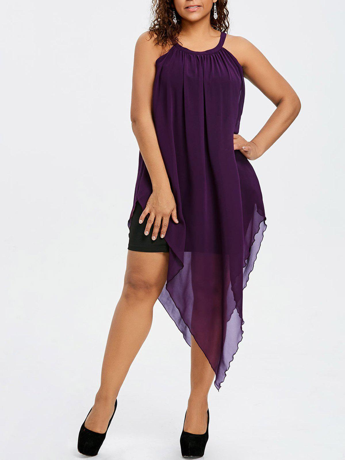 Shops Plus Size Sleeveless Asymmetric Flowing Dress