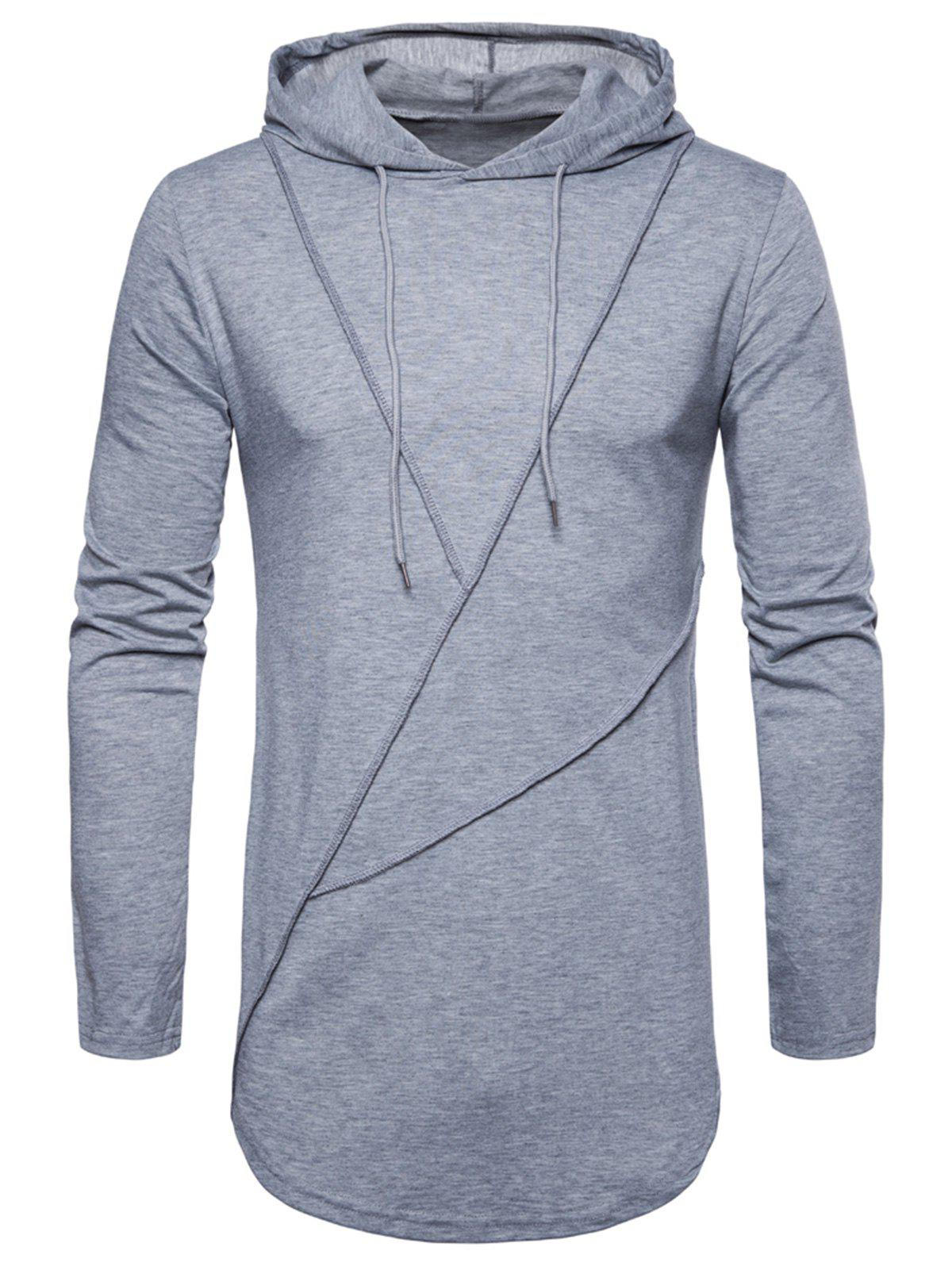 Outfit Long Sleeve Solid Color Zip Hem Hooded T-shirt